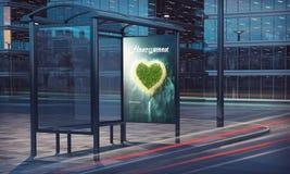 cartaz da lua de mel da rendição da parada do ônibus 3d Fotografia de Stock