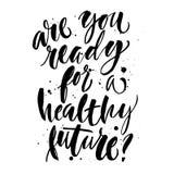 cartaz da Mão-rotulação sobre o futuro saudável Foto de Stock