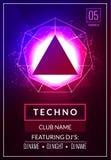 Cartaz da música de Techno Música profunda do clube eletrônico Som musical do transe do disco do evento Convite do partido da noi Foto de Stock Royalty Free