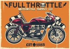 Cartaz da motocicleta do piloto do café do vintage Fotografia de Stock Royalty Free