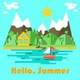 Cartaz da natureza do verão com olá! inscrição do verão no fundo azul com mar Ilustração do vetor ilustração royalty free