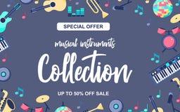 Cartaz da oferta especial com os instrumentos musicais no fundo azul cinzento Coleção musical dos intstuments com ilustração royalty free