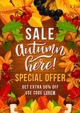 Cartaz da oferta da venda do outono com folha do outono Imagens de Stock