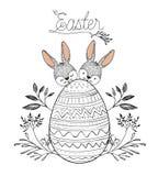 Cartaz da Páscoa com dois coelhinhos da Páscoa atrás do ovo da páscoa com a decoração floral na silhueta monocromática Imagem de Stock Royalty Free