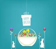 Cartaz da Páscoa Pendurar eggs no fundo azul com coelho e texto escrito à mão ilustração royalty free