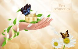 Cartaz da propaganda de um produto cosmético hidratando ilustração do vetor