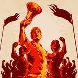 Cartaz da propaganda do punho do protesto da multidão da ligação do homem ilustração royalty free