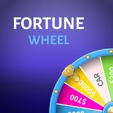Cartaz da roda da fortuna com salário em 5000 dólares ilustração do vetor