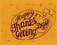 Cartaz da rotulação da tipografia do dia da ação de graças Ilustração Stock