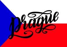 Cartaz da rotulação de Praga para seu projeto Tipografia criativa Cartão tirado mão com texto Praga Turismo e Foto de Stock