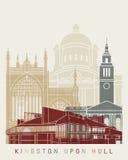 Cartaz da skyline de Kingston Upon Hull ilustração stock