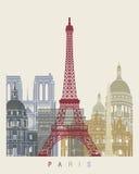 Cartaz da skyline de Paris Imagem de Stock