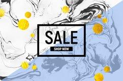 Cartaz da venda Baclground de mármore preto e branco Listra azul, círculos da folha de ouro Ilustração do vetor ilustração royalty free
