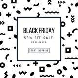 Cartaz da venda de Black Friday em Memphis Style na moda Imagens de Stock