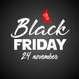 Cartaz da venda de Black Friday Molde do projeto da inscrição de Black Friday Imagem de Stock