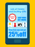 Cartaz da venda do carnaval da compra para a aplicação móvel ilustração royalty free