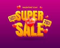 Cartaz da venda do dia de Valentim Fotos de Stock