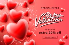 Cartaz da venda do dia de Valentim com corações vermelhos fundo, ilustração do vetor ilustração stock