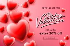 Cartaz da venda do dia de Valentim com corações vermelhos fundo, ilustração do vetor ilustração do vetor