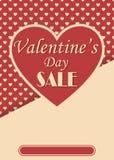 Cartaz da venda do dia de Valentim do estilo do vintage Foto de Stock