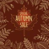 Cartaz da venda do outono com folhas Imagem de Stock Royalty Free