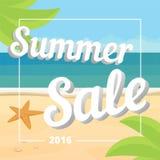 Cartaz da venda do verão A bandeira da venda do verão com fundo tropical da praia, vector o plano Fotografia de Stock Royalty Free