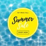 Cartaz da venda do verão para o fundo da água do molde do projeto da compra do disconto Fotografia de Stock Royalty Free