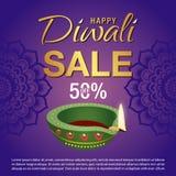 Cartaz da venda para o festival do fundo da celebração de Diwali Foto de Stock Royalty Free