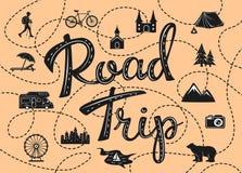 Cartaz da viagem por estrada com um mapa estilizado com ponto dos interesses Imagens de Stock