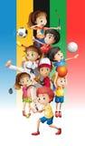 Cartaz das crianças que fazem esportes diferentes ilustração stock