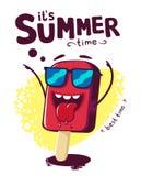 Cartaz das horas de verão, gelo engraçado do personagem de banda desenhada ilustração do vetor