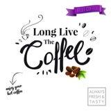 Cartaz de anúncio à moda com slogan preto central por muito tempo para viver o café ilustração do vetor