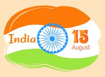 Cartaz de 15 August Indian Independence Day Greeting ilustração do vetor
