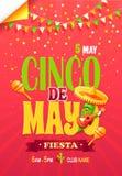 Cartaz de Cinco de May Fiesta Bright Promotional ilustração do vetor