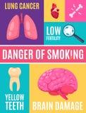 Cartaz de fumo dos desenhos animados do perigo ilustração stock