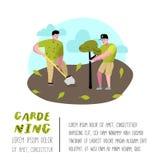 Cartaz de jardinagem dos desenhos animados Caráteres simples engraçados com plantas e árvores Jardineiro do homem ilustração do vetor