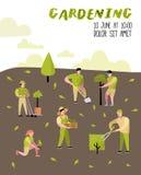 Cartaz de jardinagem dos desenhos animados Caráteres simples engraçados com plantas e árvores Jardineiro do homem e da mulher ilustração stock