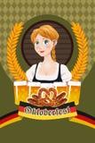 Cartaz de Oktoberfest com mulher bávara Foto de Stock Royalty Free