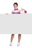 Cartaz de Pointing On Blank do líder da claque fotografia de stock