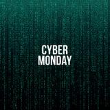 Cartaz de segunda-feira do Cyber Texto branco no fundo verde do código de computador, ilustração do vetor Ilustração do Vetor
