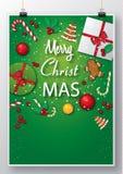 Cartaz de suspensão verde com gráficos do Natal imagens de stock