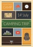 Cartaz do acampamento de verão Imagens de Stock