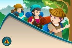 Cartaz do acampamento de verão da juventude Fotos de Stock Royalty Free