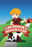 Cartaz do acampamento de verão do futebol Imagem de Stock Royalty Free