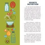 Cartaz do alimento da aptidão de ícones da nutrição do alimento da dieta saudável dos esportes ilustração royalty free