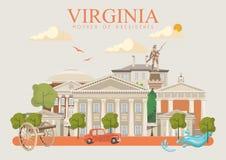 Cartaz do americano do vetor de Virgínia Cartão de cumprimentos do vintage ilustração stock