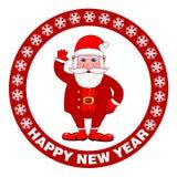 Cartaz do ano novo feliz com Santa Claus em um fundo vermelho Cartão do feriado Ilustração do vetor ilustração do vetor