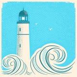 Cartaz do azul do farol Imagem do seascape do vetor no papel velho ilustração royalty free
