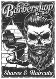 Cartaz do barbeiro do vintage com cadeira e crânio de barbeiro Fotos de Stock Royalty Free