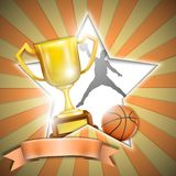 Cartaz do basquetebol com copo do troféu. Fotos de Stock Royalty Free
